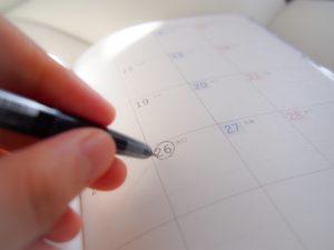 カレンダーに書き込み
